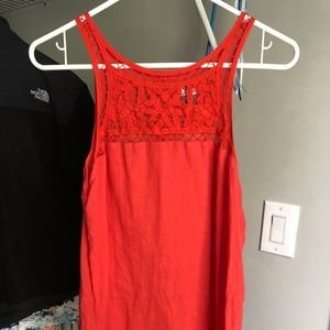 Old Navy Red Tank Top with Lace Detail, size M